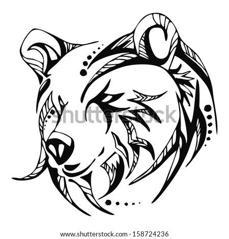 Bear head tattoo vecto...