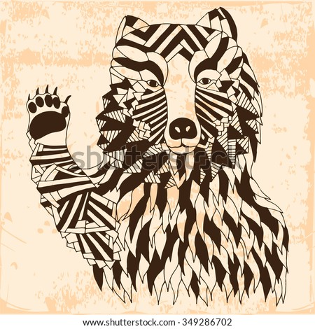 Bear illustration - Good for T-shirt, bag or whatever print. Vector illustration