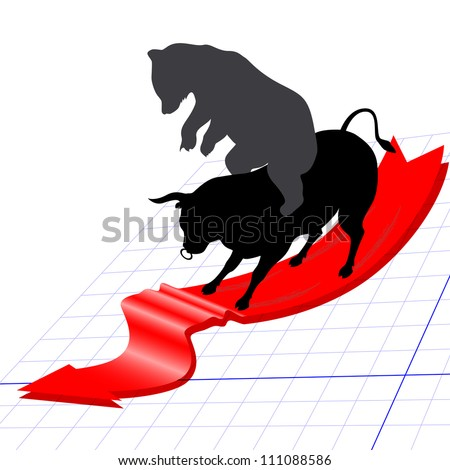 Bear market concept. Bear astride on bull are slipping down on trend red arrow. - stock vector