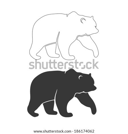 BEAR outline and silhouette vector - stock vector