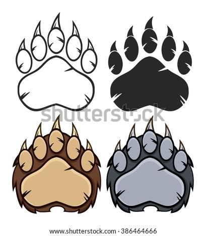 Bear Paw Logo Design. Vector Collection Set - stock vector