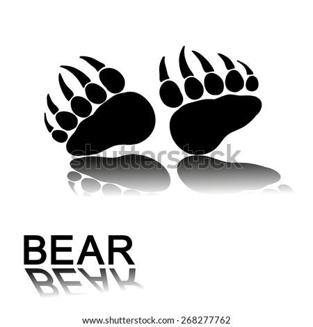 bear paw prints - stock vector