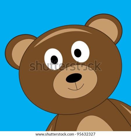 Bear's portrait over blue background - stock vector