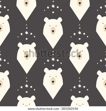 Bear seamless pattern with stars  - stock vector