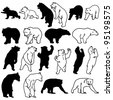 Bear Silhouettes on white background. - stock vector
