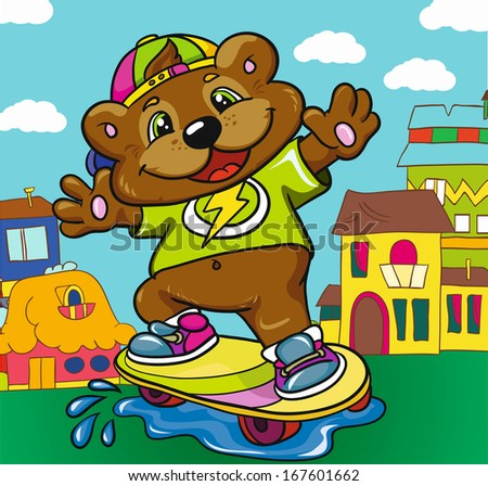 Bear skateboarder on a colored background, vector illustration - stock vector