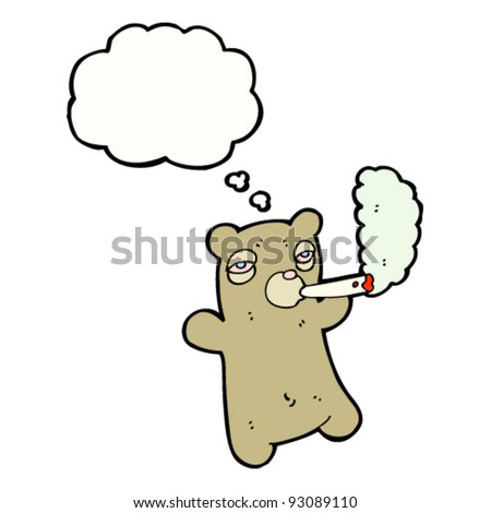 bear smoking marijuana cigarette - stock vector