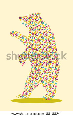 Bear Spotted. Silhouette of animal with colourful spotted pattern - stock vector