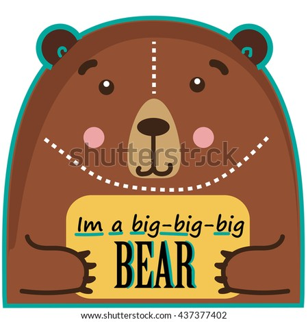 Bear template. Bear with text box. Bear banner. Cute animals. Isolated label. - stock vector