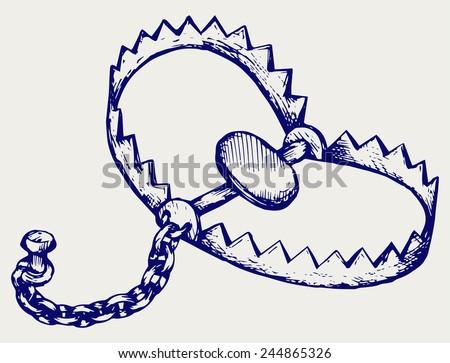 Bear trap. Doodle style - stock vector