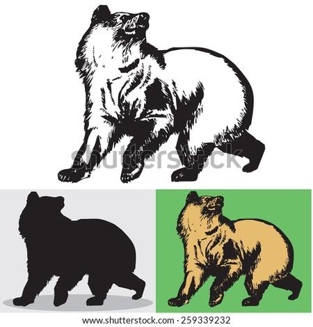 Bear. Vector. 2. Illustration. - stock vector