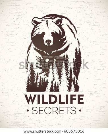 Bear, vector Illustration of a combined with a landscape symbolizing wildlife.