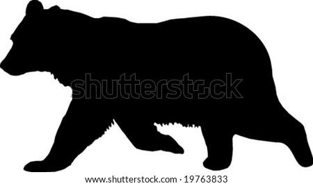 bear vector silhouette - stock vector