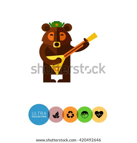 Bear with balalaika - stock vector