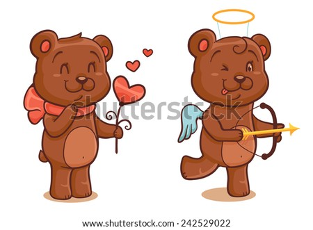 Bear with flower and bear-cupid isolated on white - stock vector