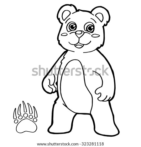 Bear Paw Print Coloring Page Vector Stock Vector 323281118 ...