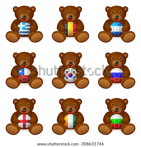Bear with soccer ball flag on a white background. - stock vector