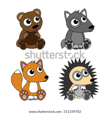 Bear, wolf, hedgehog, fox. Set of cartoon isolated objects. - stock vector