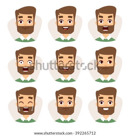 Beard man emotions and avatar beard man characters emotions. Faces vector characters mosaic of young beard man expressing different emotions icons.  - stock vector