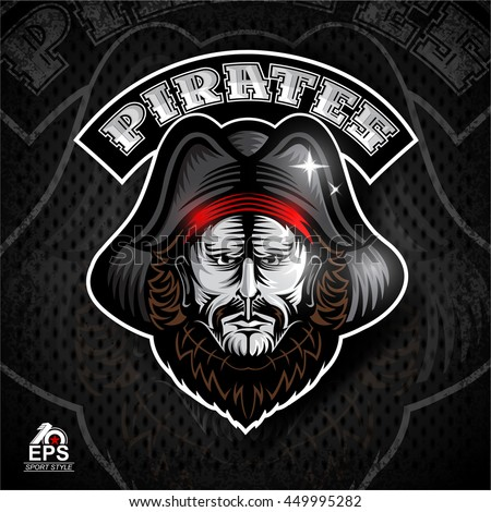 Beard man face with cocked hat. Logo for any sport team pirates - stock vector