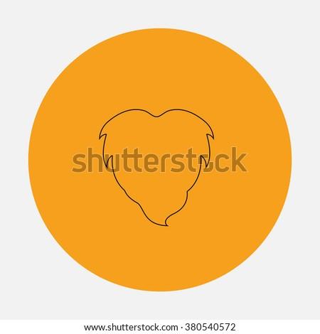 Beard Outline vector icon on orange circle. Flat line symbol pictogram  - stock vector