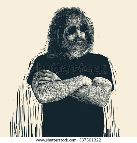 bearded biker in sunglasses with long hair, mustaches and beard. retro engraving linocut style. vector illustration. - stock vector