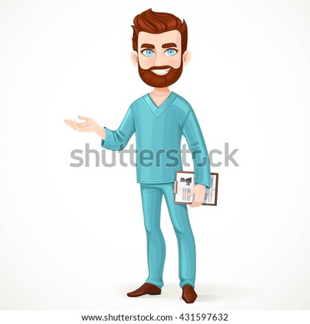 Bearded doctor in green surgical suit holding medical history and something tells