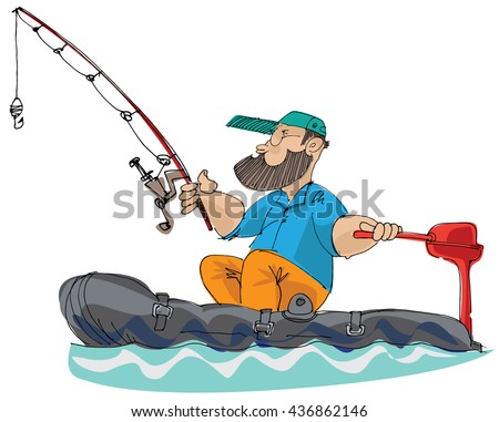 bearded fisher man in inflatable boat - cartoon
