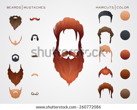 Beards and Hairstyles in constructor. Vector Illustration. - stock vector