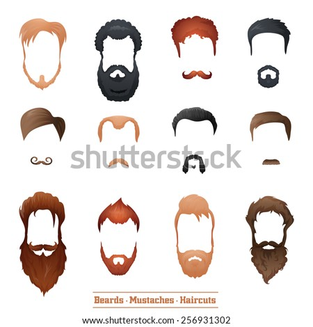 Beards and Mustaches and Hairstyles set different types of haircuts Vector Illustration. - stock vector