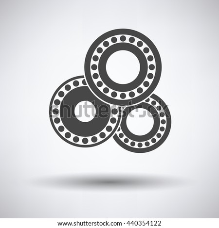 Bearing icon on gray background, round shadow. Vector illustration. - stock vector