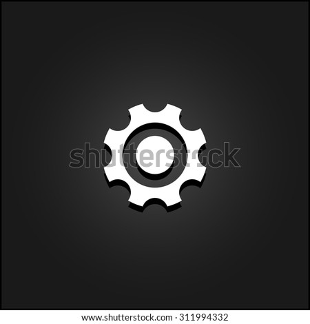 Bearing. White flat simple vector icon with shadow on a black background - stock vector