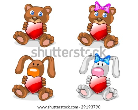 bears and rabbits with heart (editable layers) - stock vector