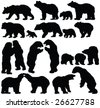 bears silhouette collection - vector - stock photo