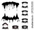 Beast jaw silhouettes collection vector illustration - stock vector