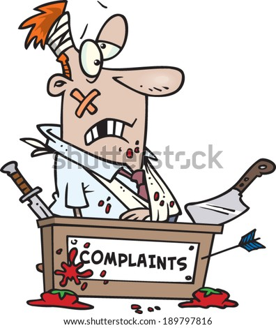 beat up cartoon man working at the complaints desk - stock vector