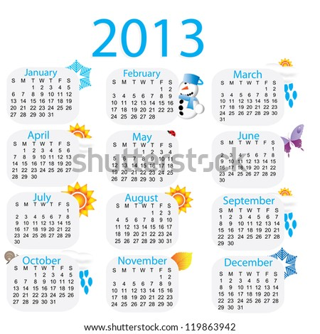 Beatiful colorful rainbow calender 2013 with pictures - stock vector
