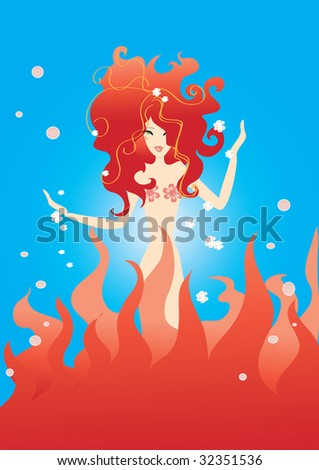 beatiful fire girl in the water