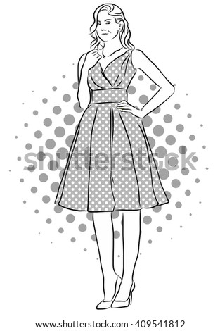 Beatiful Girl Standing in Front of Dotted Background. Vinatge Artwork. Hand Drawn Vector Sketch. - stock vector