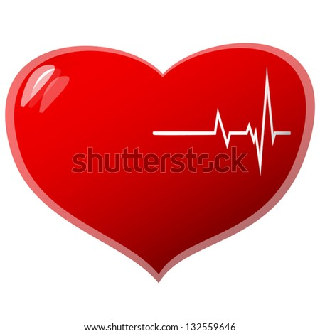 Beating heart concept on a white background. Vector illustration