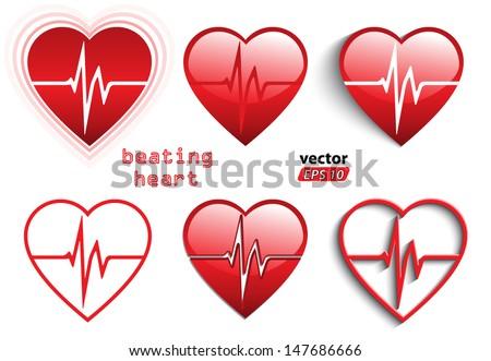 beating heart symbol set / vector illustration eps 10 - stock vector