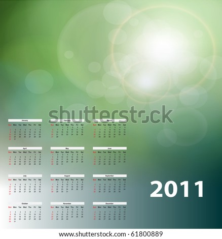 Beautiful abstract background with year 2011 calendar, vector. - stock vector