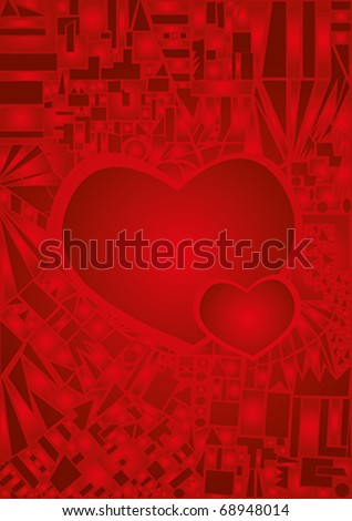 Beautiful abstract card with hearts - stock vector