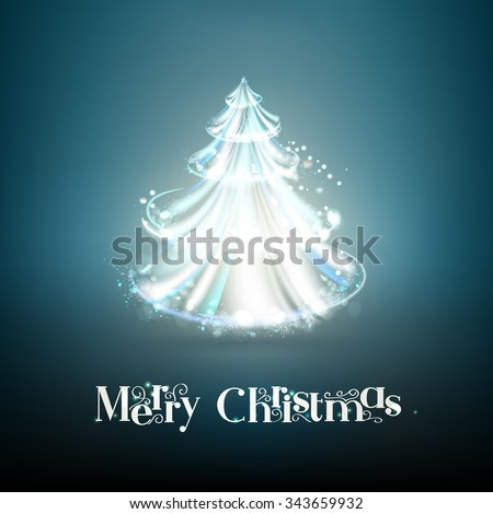 Beautiful abstract christmas tree over blue background. Holiday background with glow fir tree in style of glass over dark background. - stock vector