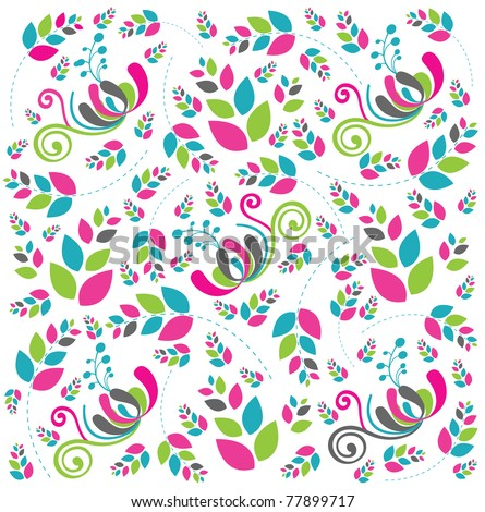 Beautiful abstract floral background in soft pink, blue and green- Great for textures and backgrounds for your projects! - stock vector