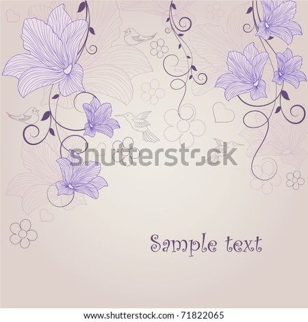 Beautiful abstract floral background with birds. - stock vector