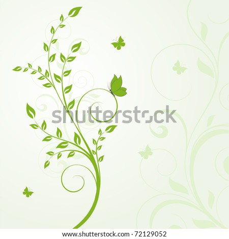 Beautiful abstract floral background with butterflies. - stock vector