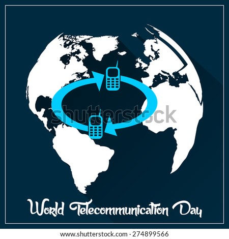 Beautiful Abstract for World Telecommunication Day with nice earth in a beautiful and creative crisp dark blue colour background. - stock vector
