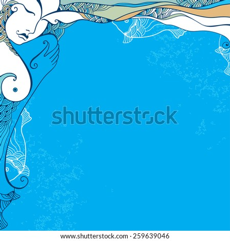 Beautiful abstract girl with fish - stock vector