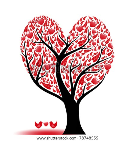 Beautiful abstract love tree with hearts and birds - stock vector